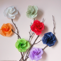 Origami Roses by littlemewhatever