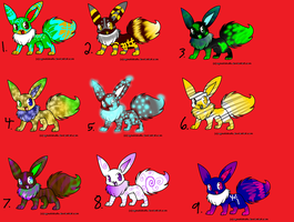 EEVEE ADOPTABLES-Yay:3: by DigiPikachuX
