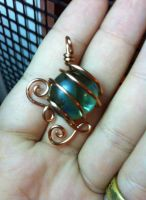 green and copper pendant by xXHallowHeartXx