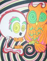 Swirly Skull and Owl by ToniTiger415