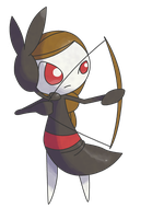 Commission: Meloetta Archery Forme by CherubimonX