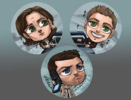 Supernatural Buttons by perishing-twinkie