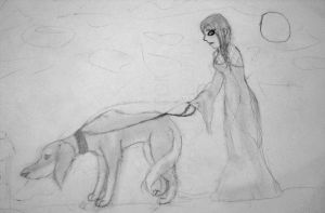 A Goth and Her Saluki by gir-is-me
