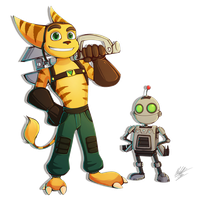 Ratchet and Clank + speedpaint by BlueStripedRenulian
