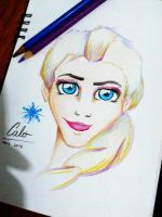 Elsa with colored pencils by DysfunctionalHuman