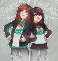 Commission - Mai and Freya by papelmarfil