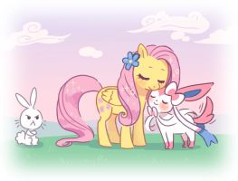 Fluttershy and Sylveon by HinoHimeSan