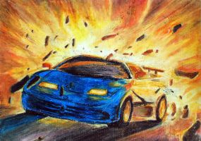 Oil Pastel - Car by naugthy-devil