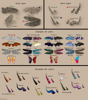 [Mevean] Wings, horns, color examples by Ciy-chan