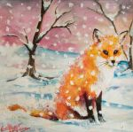 Snowy Red Fox by esther-rose-mouse