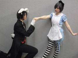 Ciel and Sebastian in Wonderland by Mitsuko-Vicious
