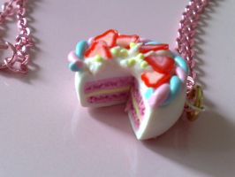 Strawberry Cake Necklace by PinkCakes