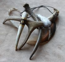 Painted Mule Deer Antler Necklace by lupagreenwolf
