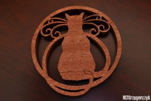 Scroll saw cat coaster by M2Grzegorczyk