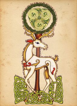 White Stag on Parchment by AoifeTighe