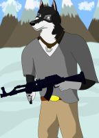 Husky with a gun by DrZed
