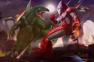 Godzilla vs. Ultraman Round 2 by manguy12345