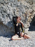 Lara Croft wetsuit - at the shore by TanyaCroft