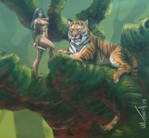 Jungle Girl - digital Painting by willterrell