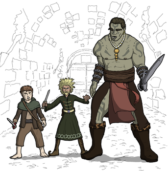 3 Fighters Halfling Gnome Half Orc by freefalldrift