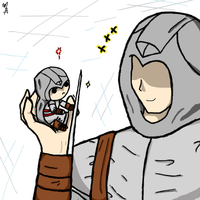 Chibi Altair with Altair by zetsumeininja