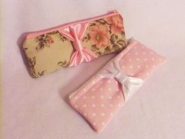 Pink themed BIG BOW clutches by BlueDove415