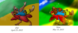 Kazooie and Banjo--Old and New Comparison by TheDragonInTheCenter