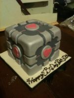 Companion Cube Cake by Spudnuts