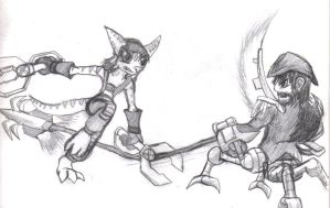 Ratchet VS the Cyborg Pirate by Squall179