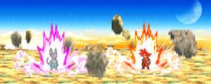 Bills vs. Super Saiyan God Goku by TheMelon93