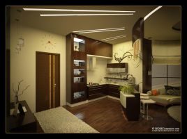 Gym livingroom and kitchenette by artywakeel