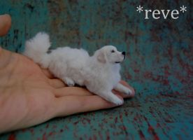 Great Pyrenees Dog Handmade Miniature Sculpture by ReveMiniatures
