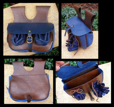 Blue and Brown Leather Purse by Carancerth
