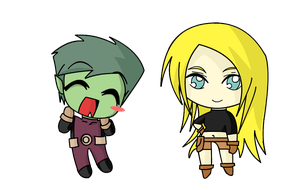 Tera and Beastboy by WildStrike008