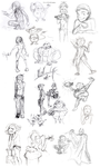 Sketch Dump: Character Designs and a Random Batman by WingedOzelot