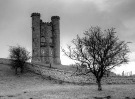 Broadway Tower Black and White by s-kmp