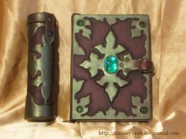 Book cover and scroll holder by Fantasy-Craft