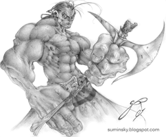 warrior with axe by SuminskyArtwork
