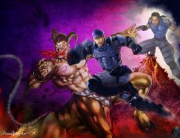 Mortal Kombat Stryker, MK9 human Kabal vs Motaro by Grapiqkad
