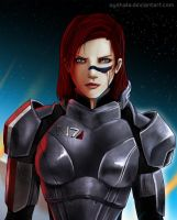 ME3 - Commander Shepard detail by Ayshala
