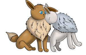Eevee Couple Colored by awesome8x