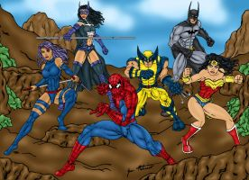 Marvel and DC Superhero Team by jmaturino