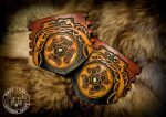 Viking and Celtic Knot-Work Leather Dragon Bracers by EastCoastLeather