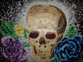 Skull with Roses by DragonNin