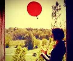 Girl with red baloon by nomadranger