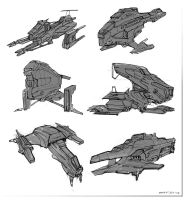 Spaceships Sketches by SkipeRcze