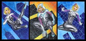 SPIDER GWEN UNMASKED PERSONAL SKETCH CARDS by AHochrein2010
