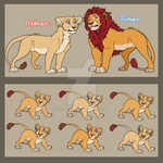 Lion Couple and Cubs Adopts: 1 by The-One-True-Koneko