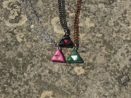 Triforce Trio Necklaces: Ganon, Zelda, Link by totalexistancefail