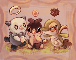 PokeGarden:Unova starters by salanchu